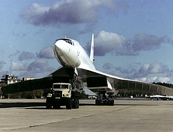 Tu-144LL towed by a KrAZ truck