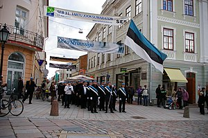 Estonian Students' Society - Members of EÜS with their flag in 2013