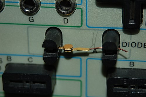 10 mA germanium tunnel diode mounted in test fixture of Tektronix 571 curve tracer TunnelDiode 10mA germanium.jpg