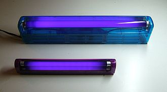 Ultraviolet - Two black light fluorescent tubes, showing use. The longer tube is a F15T8/BLB 18 inch, 15 watt tube, shown in the bottom image in a standard plug-in fluorescent fixture. The shorter is an F8T5/BLB 12 inch, 8 watt tube, used in a portable battery-powered black light sold as a pet urine detector.