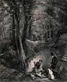 Two men examining the prey of their hunt with two dogs looki Wellcome V0021934.jpg