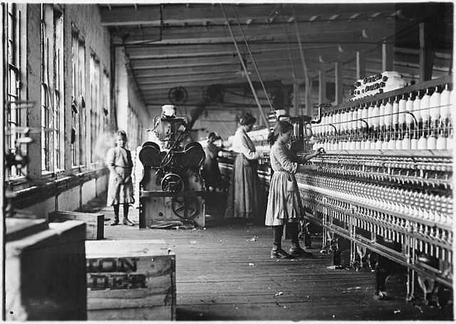 Two of the young spinners in Catawba Cotton Mills. Newton, N.C., 1908; image in the public domain