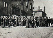 Strikers gathering in Tyldesley in the 1926 General Strike in the U.K.