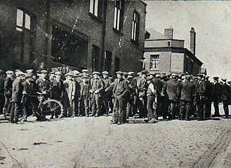 1926 United Kingdom general strike - Tyldesley miners outside the Miners' Hall during the strike