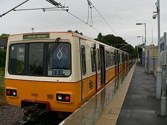 Tyne and Wear Metro - The prototype Metrocar, 4001, after restoration to its original livery (seen here at South Hylton in 2005). The unit has since been re-liveried to match the rest of the fleet.