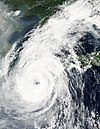 Satellite image of Typhoon Rusa nearing South Korean landfall