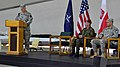 U.S. Army Lt. Col. Edward Cloyd, left, the outgoing commander for Joint Readiness Detachment-East, addresses the audience at a transfer of authority ceremony May 26, 2013, at Camp Bondsteel, Kosovo 130526-A-ED406-130.jpg