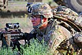 U.S. Army Spc. Jacob H. Hughes, an infantryman with the 2nd Platoon, Echo Company, 2nd Battalion, 506th Infantry Regiment, 4th Brigade Combat Team, 101st Airborne Division, provides security with an M240B 130602-A-DQ133-054.jpg