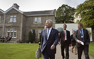2014 Wales summit - US Secretary of Defense Chuck Hagel, walking in the grounds of the Celtic Manor Resort