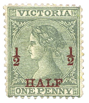 Overprint - Image: UK Stamp 1873 Pennystamp Overprinted to Halfpenny