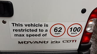 Metrication of British transport - Sign on a van in the UK showing a speed limiter set to 100 km/h