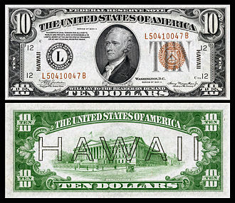 Hawaii overprint note - Image: US $10 FRN 1934 A Fr.2303