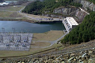 Carters Dam - The powerhouse and switchyard at Carters Dam