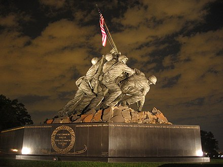 The U.S. Marine Corps War Memorial in Arlington, Virginia
