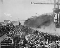 USS Arizona being launched NARA 19-LC-19A-23