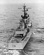 USS Bradley (DE-1041) stern view with torpedo tubes c1965