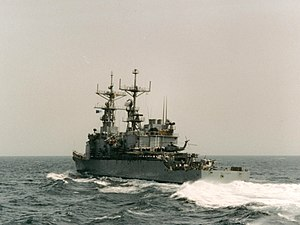 USS Elliot at sea in the Persian Gulf 1991 in support of Operation Desert Storm