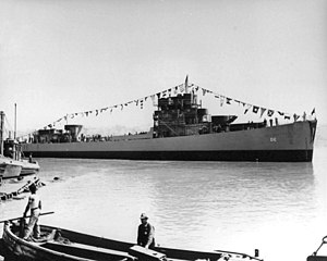 USS Fair (DE-35) after her launch at the Mare Island Naval Shipyard on 27 July 1943