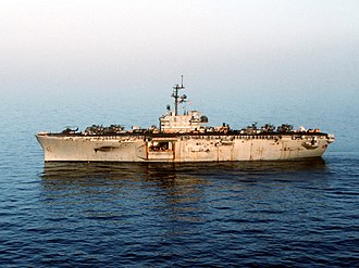 Landing Platform Helicopter - USS Okinawa (LPH-3) in the Persian Gulf.