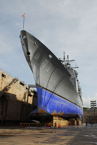 USS Port Royal (CG-73) - Image: USS Port Royal (CG 73) forward section after grounding in drydock
