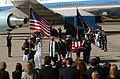 US Navy 040611-N-6501M-019 Members of the Ceremonial Honor Guard carry the casket of former President Ronald W. Reagan after it is removed from the VC-25 Special Airlift Mission (SAM) 2800 747 aircraft.jpg
