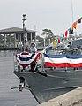 US Navy 041206-N-6344D-002 A U.S. Coast Guardsman raises the Union Jack on the bow of Coast Guard patrol craft USCGC Shamal (WPC 13).jpg