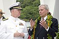 US Navy 061207-N-4856G-254 Commander, U.S. Pacific Fleet Adm. Gary Roughhead listens as Tom Brokaw speaks of the events and history of the Pearl Harbor attack.jpg