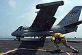 """US Navy 070403-N-2659P-163 An Aircraft Launching Officer """"Shooter"""" assigned to air department's launch and recover division, ducks after launching an S-3B Viking.jpg"""