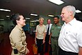 US Navy 070625-N-6081J-001 U.S. Ambassador to Belize, The Honorable Dr. Robert J. Dieter, speaks with Lt. j.g. Melissa McMurry, a Navy nurses corps officer, during a guided tour of the Military Sealift Command hospital ship USN.jpg