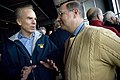 US Navy 071201-N-5549O-001 Secretary of the Navy (SECNAV) the Honorable Donald C. Winter speaks with former Naval Academy star quarterback, Roger Staubach.jpg