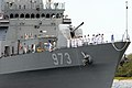 US Navy 080624-N-9671T-168 Korean sailors aboard the Republic of Korea Ship (ROKS) Yang Monchoon (DDH 973) wave to observers as the ship pulls into Pearl Harbor for the Rim of the Pacific (RIMPAC) 2008 Exercise.jpg