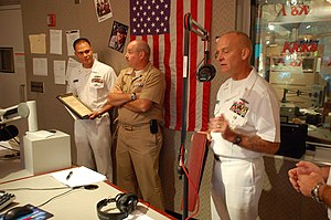 WKHX-FM - Command Master Chief Richard Rose, assigned to the guided-missile submarine USS Georgia (SSGN 729), talks on the air during the 101.5 FM Kicks morning show about Atlanta Navy Week 2010.