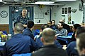US Navy 110329-N-SF508-120 Master Chief Joseph Fahrney, command master chief of Commander, Task Force 70, speaks to Sailors on the mess decks of th.jpg
