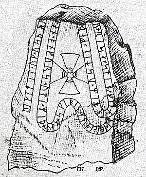 Viking runestones - Runestone U 349 in a 17th-century drawing.