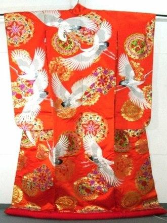 Kimono - A traditional red Uchikake kimono with cranes