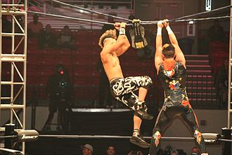 Ultimate X match - DJ Z and Manik reaching for the championship belt during an Ultimate X match in 2015.