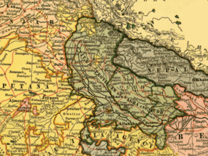 Tehri Garhwal district - 1903 map of United Provinces showing the boundaries of Garhwal Kingdom