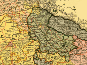 1903 map of United Provinces showing the bound...