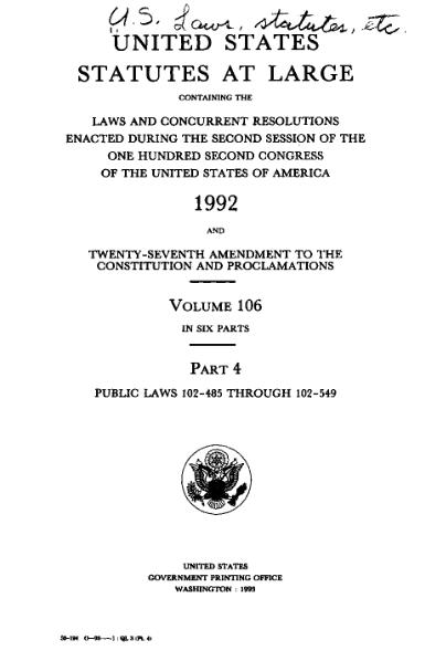 File:United States Statutes at Large Volume 106 Part 4.djvu
