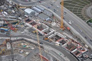 University of Washington station - Image: University Link Tunnel construction aerial 2012 (2)