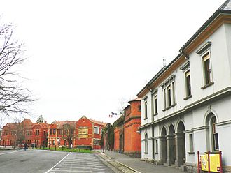 Federation University Australia - Heritage buildings and old Ballarat Gaol at the School of Mines and Industry. Lydiard Street, Ballarat CBD. Now home to the Collaborative Research Centre in Australian History (CRCAH).