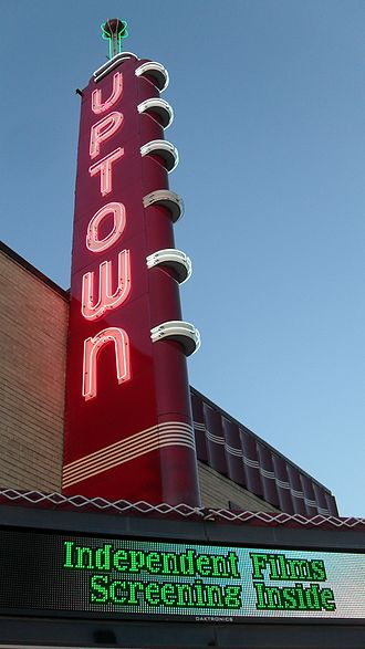 Grand Prairie, Texas - The Uptown Theatre sign illuminated at night