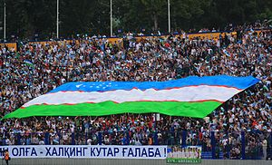 Uzbekistan national football team - Supporters of national team during qualification match for the 2010 FIFA World Cup against Japan, at Pakhtakor Stadium, in Tashkent