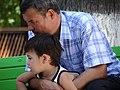 Uzbek Father and Son - Bobur Park - Tashkent - Uzbekistan (7466959150).jpg