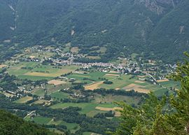 A view of Valbonnais from the nearby hillside
