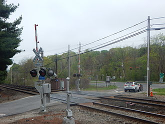 Valhalla train crash - The Commerce Street crossing in Valhalla where the wreck occurred, three months later, seen from its southwest