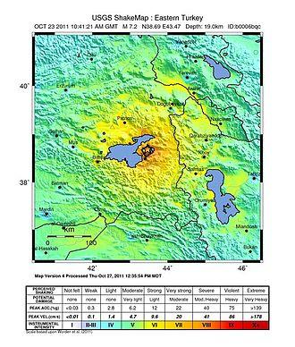 2011 Van earthquakes - Image: Van EQ intensity USGS