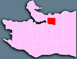A map of a city, with the Strathcona neighbourhood highlighted