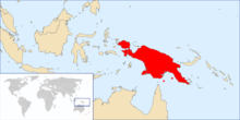 Map showing the distribution of Varanus prasinus, found throughout Papua New Guinea and several islands in the Torres Strait.