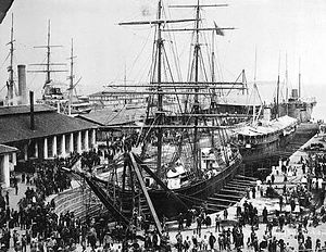 Singapore in the Straits Settlements - A busy Victoria Dock, Tanjong Pagar, in the 1890s.
